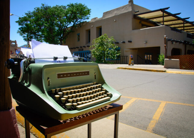 Torres left this typewriter on the sidewalk in front of her gallery, and invited anyone who wanted to type something with it. I think this is a great idea that I might do someday myself.